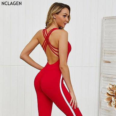 NCLAGN Women Stripe Yoga Backless Set Siamese Sportswear GYM Jumpsuit Fitness