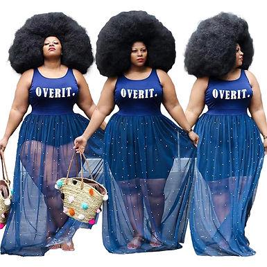 Plus Size Long Maxi Dresses for Women Fashion Summer Sleeveless Letter Pattern