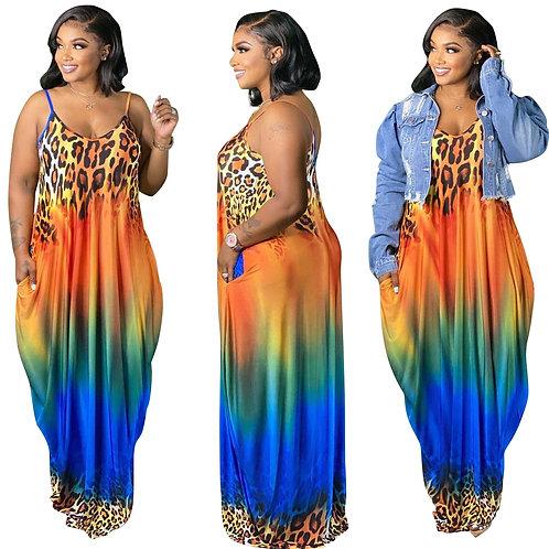 XL-4XL Plus Size Women Clothing Summer Dress 2021 Leopard Gradient Print