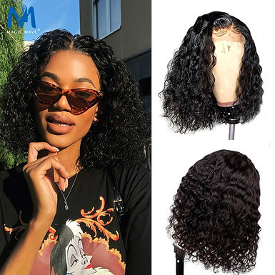 Water Wave Curly Bob Wig Lace Front Human Hair Wigs With Baby Hair Brazilian Hai