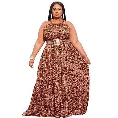 XL-5XL Plus Size Women Clothing Summer 2021 Maxi Dresses for Women Sexy Leopard