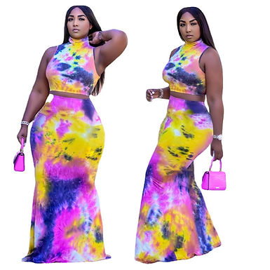XL-5XL Plus Size Set Skirt Set Summer 2021 Sexy Tie Dye Sleeveless Top
