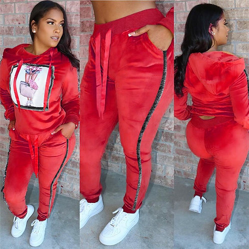 Velvet Tracksuit Two Piece Set Women Long Sleeve Hooded Top