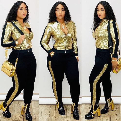 Sequin 2 Piece Set Women Tracksuit Long Sleeve Jacket Top Pants