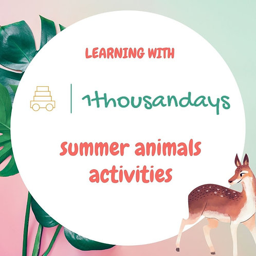 Summer Animals -  Activities (suited for ages 3.5-5)