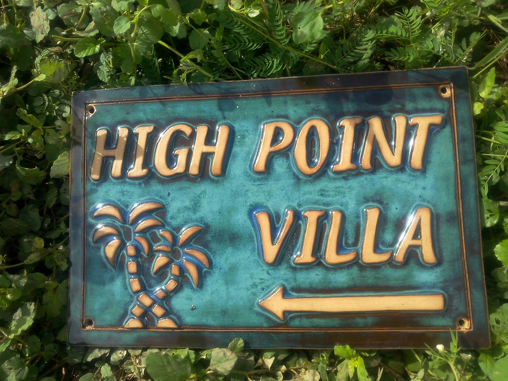A ceramic sign for the High Point Villa in the British Virgin Islands
