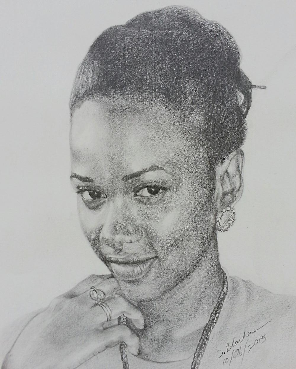 A graphite pencil portrait by Travell Blackman