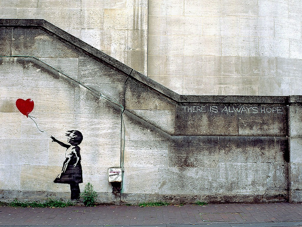 "Banksy, ""Balloon girl"" also called ""There is always hope,"" London, 2002"