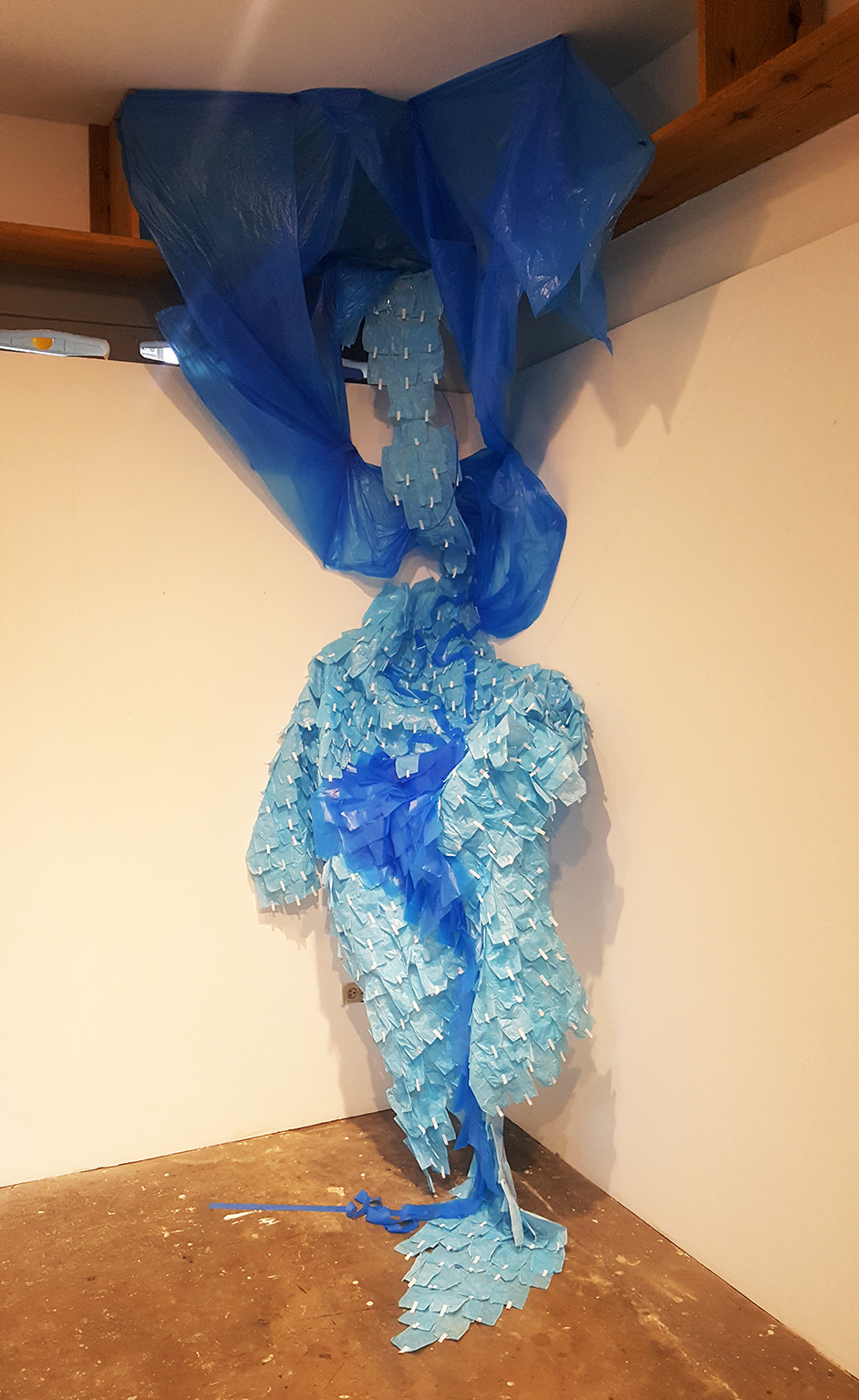 One of two untitled installations Dominique Hunter made using a collection of sanitary napkin wrappers and garbage bags
