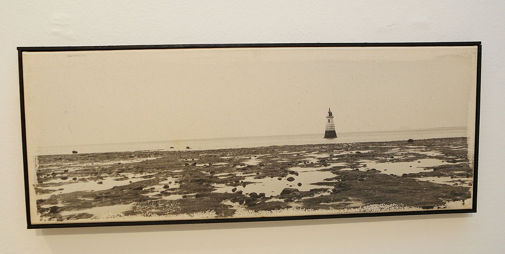 "One photograph from a suite of 12 from Ingrid Pollard's `The Boy Who Watches Ships Go By,' 2002 (photographic emulsion on stretched unbleached canvas, three 12"" x 32"" and nine 12"" x 12""). Photo courtesy of the British Council"