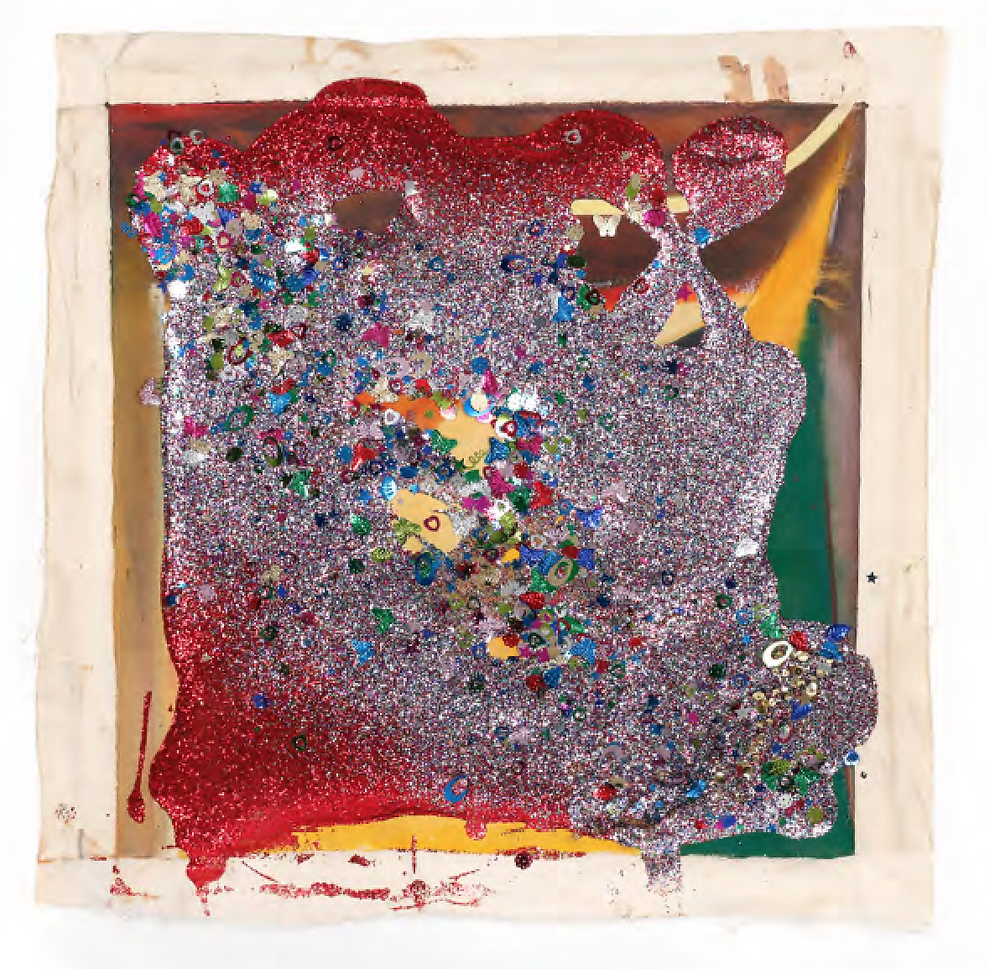 Victor Davson, Jhandi Flag #5, from the series, Jhandi Flags, 2017, glitter, sequins, acrylic on canvas, 28.25 x 27.75 inches (unframed)