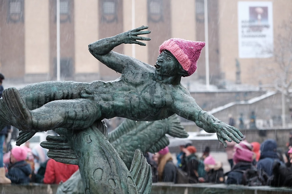 MeToo, women's march, pussyhat, poseidon, göteborg, gothenburg, 2017, demonstration, protest, knitting