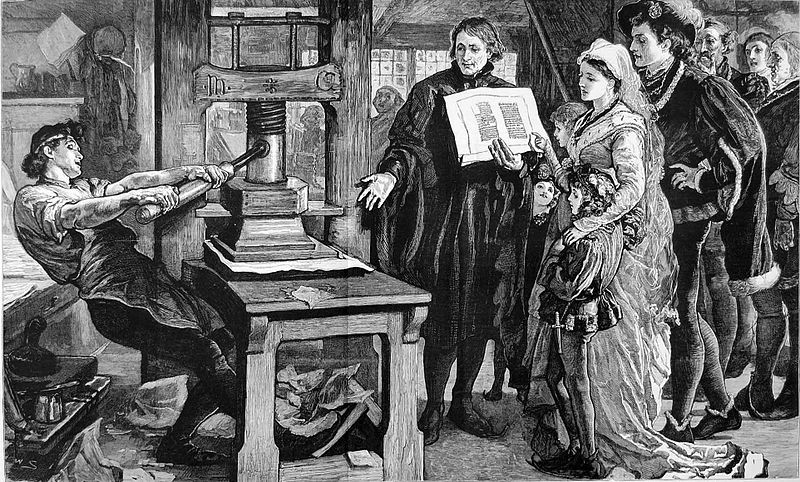 William Caxton showing specimens of his printing to King Edward IV and his Queen. Published in The Graphic in 1877 refering to The Caxton Celebration. The Caxton Celebration, commemorating the 400th anniversary of the first printed book in England, took place in London in the summer of 1877.