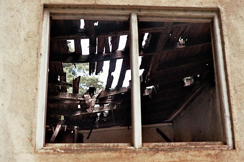 Nairobi Kenya Broken Window Roof House Ruin Analog Photography