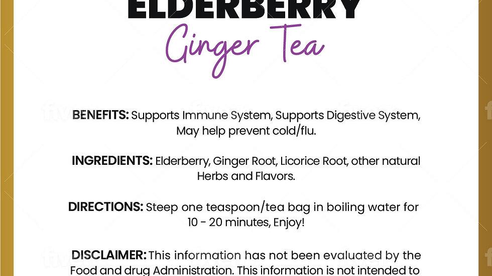 Elderberry Ginger Tea- Immune-Teabags