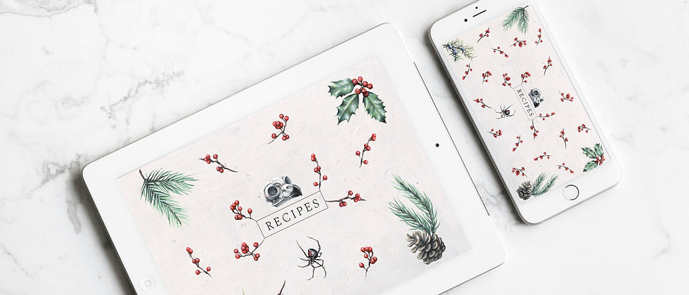 Digital Recipe Cards  |  Winter Themed  |  Tablet & Phone