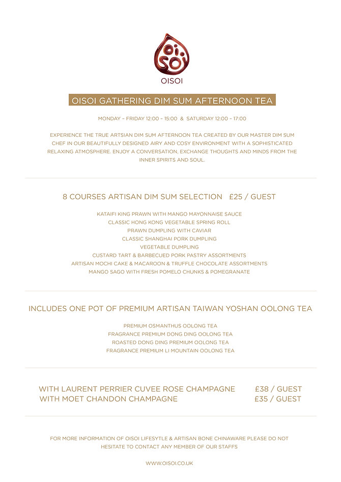 OISOI Artisan Dim Sum Afternoon Tea Menu