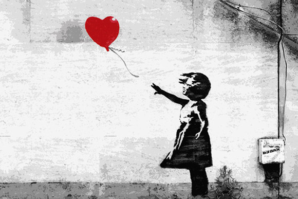 Photo of Banky's Girl with a Balloon wall art