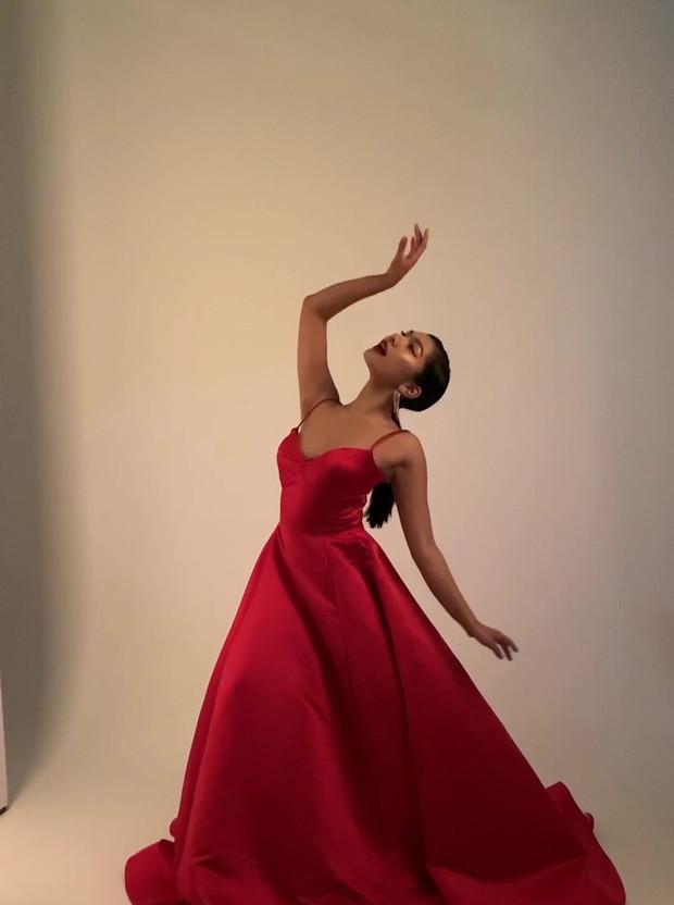BTS in a Julie Danforth dress, being photographed by Tofik Ahmad at Cobalt Studios.