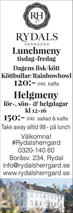Rydals Herrgård lunchmeny och helgmeny