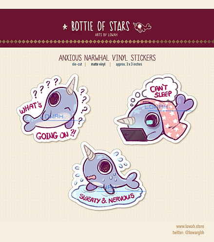 Stickers✩Anxious Narwhal series