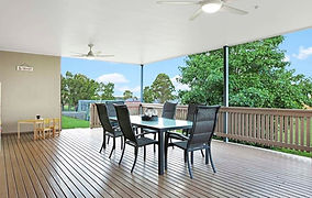 New entertaining deck with ceiling fans