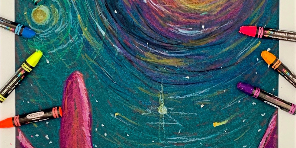 LIVE Step-by-Step Neon Moonscape Oil Pastel Drawing Class