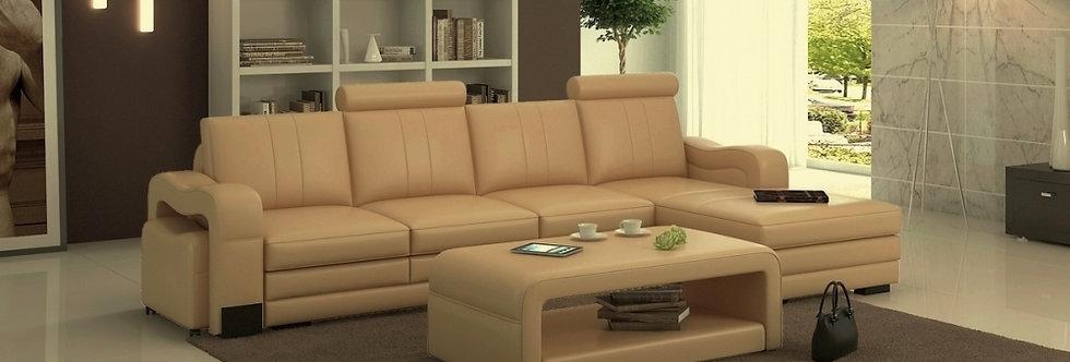 Canapé d'angle en cuir italien 5 places ROMANA, angle droit