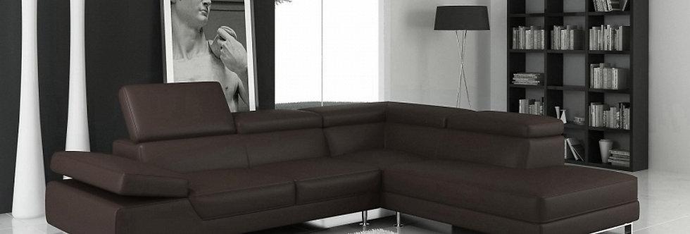 Canapé d'angle en cuir italien 5/6 places, Petit GEORGE, angle droit