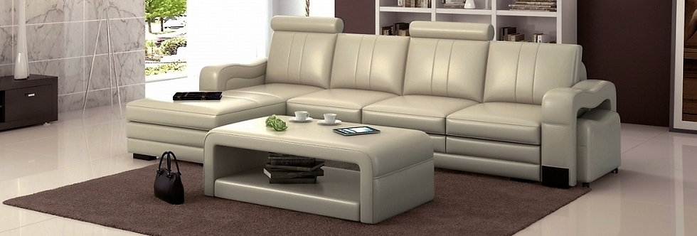Canapé d'angle en cuir italien 5 places ROMANA, angle gauche