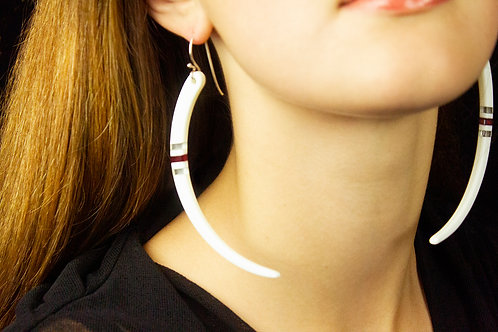 Niho Earring - cream & red