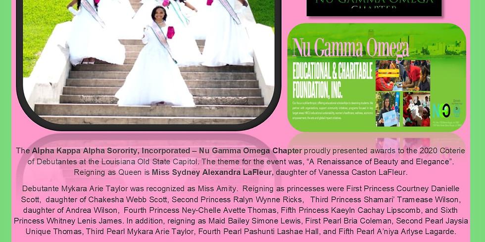 Nu Gamma Omega Educational & Charitable Foundation               Nu Gamma Omega  Chapter 2020 Debutante Coterie