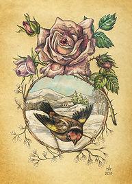 """Винтажная поздравительная открытка """"Роза и птичка"""""""