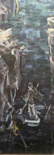 This view juxtaposes the young girl looking out to the viewer and the young boy straining across the chasm. Between the two lies a confused answer: an ambiguous figure paddles forward.