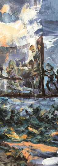 The painting recedes to a bridge between the two worlds, guards pushing fearlessly against. This scene is very typical of many border relations with refugees and is based on several photographs.
