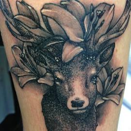 Stag & flowers tattoo Hannya Jayne