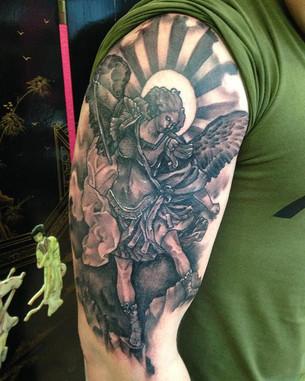 Black & Grey tattoo sleeve Hannya Jayne