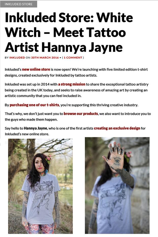 Inkluded Tattoo Merch Hannya Jayne Exeter Tattoo Artist