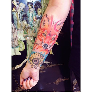 Avant garde Fox & flower sketchy tattoo
