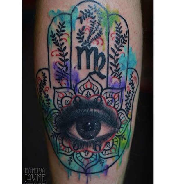 Hamsa hand of fatima tattoo Hannya Jayne