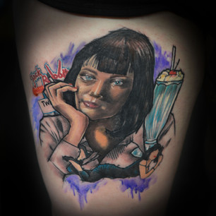 Mia Wallace pulp fiction tattoo Exeter tattooist Hannya Jayne