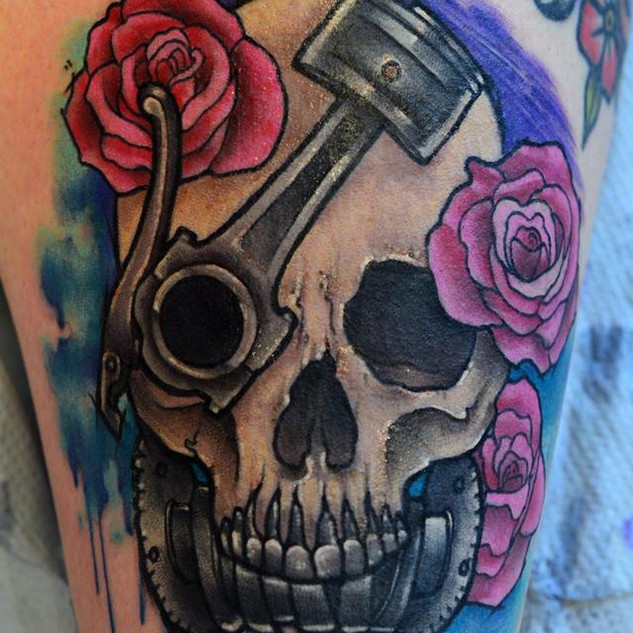 Skull Piston Cam Shaft tattoo Hannya Jay
