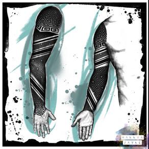 Blackwork tattoo sleeve Hannya Jayne.jpeg