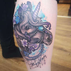 Unicorn tattoo Hannya Jayne exeter devon