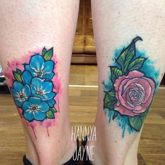 Sketchy flower tattoos watercolour Hannya Jayne