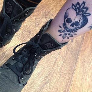 Healed sketchy skull & mandala tattoo Ha