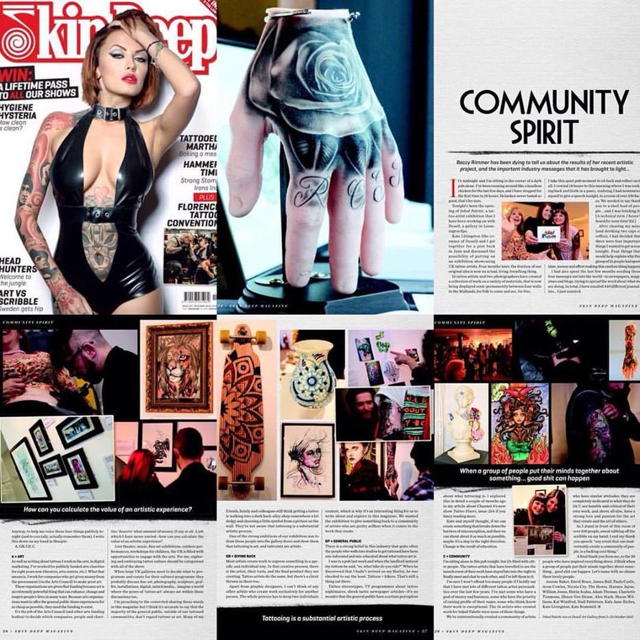 Skin Deep tattoo magazine Inked Palette art gallery exhibition