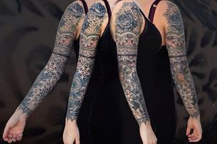 Dotwork mandala henna tattoo sleeve Hann