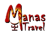 Logo von Manas Travel: Schriftzug mit Kirgistan Flagge