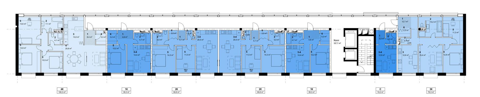2, 3, 4 floors
